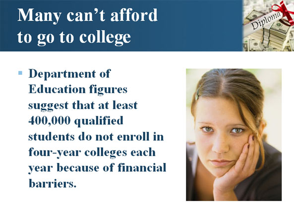 Many can't afford to go to college